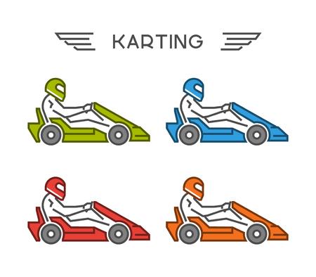 to go: Modern outline go kart symbol. Vector figures art racer.