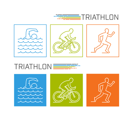 neat: Modern line triathlon symbol. Neat vector figures triathletes. Outline triathlon icons. Vector line silhouette triathletes. Swimming, cycling and running icons.