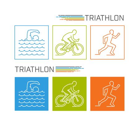 triathlon: Modern line triathlon symbol. Neat vector figures triathletes. Outline triathlon icons. Vector line silhouette triathletes. Swimming, cycling and running icons.