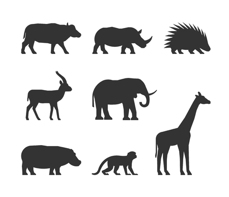 porcupine: Vector black set of silhouettes african animals. Figure buffalo, rhino, gazelle and porcupine. Silhouette elephant, hippopotamus, monkey and giraffe. Figure african animals isolated.