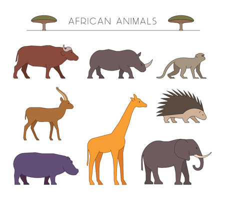 porcupine: Outline set of african animals. Linear silhouettes african animals isolated on white. Vector icons african buffalo, rhino and monkey. Outline silhouette gazelle, giraffe and porcupine. Illustration
