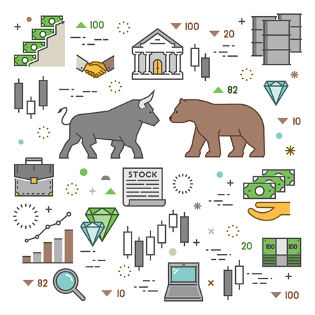 stock exchange brokers: Square concept of stock market. Vector symbol of commodity exchange. Modern banner of stock exchange. Linear concept of stock market.