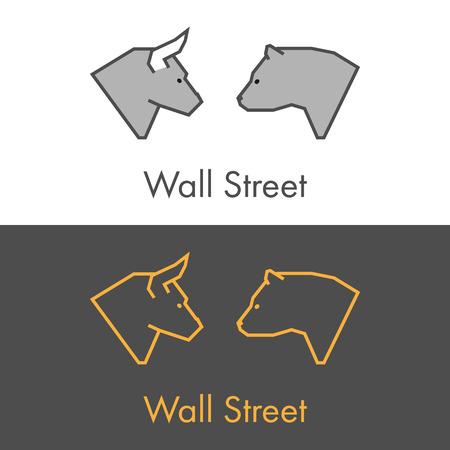 liquidity: Vector symbol work on Wall Street. Modern bull and bear icon.