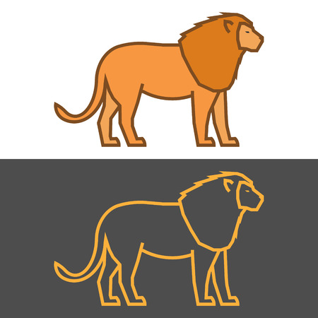 gold silhouette: Vector gold lion on a black background. Modern outline silhouette lion.