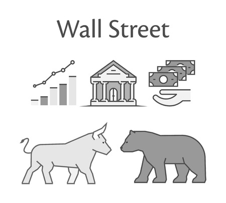 wall street: Modern concept of Wall Street. Vector symbol bull and bear icon.
