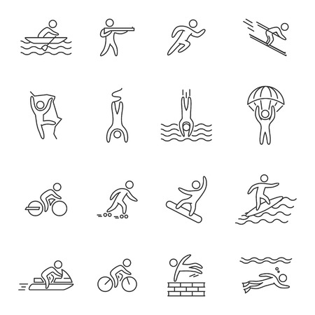 rollerblading: Outline icons for extreme sports. Line character set for action sports. Figures athletes of adventurous sports. Line symbol for extreme sports. Illustration