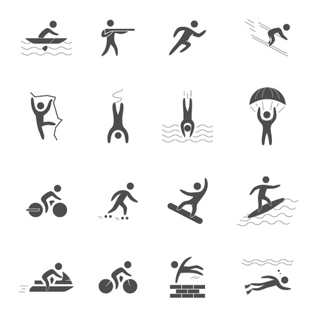 rollerblading: Black icons for extreme sports. Vector character set for action sports. Figures athletes of adventurous sports. Black symbol for extreme sports.