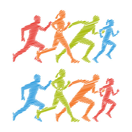 shading: Shading silhouettes of running boy and girl.