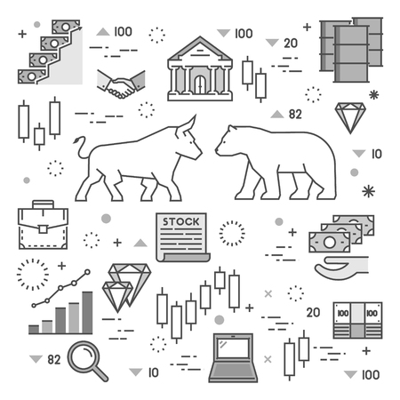 Line concept of stock market. Vector concept of stock market. Square symbol of commodity exchange.  Modern banner of stock exchange. 向量圖像