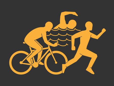triathlon: Modern triathlete silhouettes on a black background.