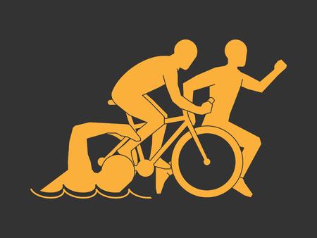 triathlon: Gold symbol triathlon.