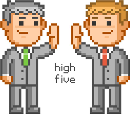 high: Pixel people and friendly high five. Illustration