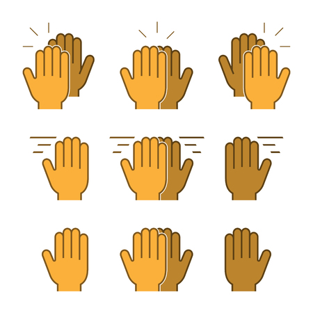 high five: Vector set flat icons high five. Modern symbol line high five. Linear friendly high five. Illustration
