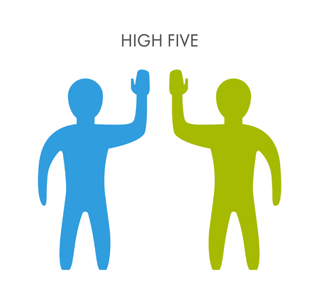high five: Two people and a friendly high five. Teamwork and successful high five. Illustration