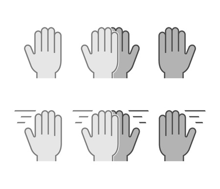 high five: Modern set flat icons high five. Vector symbol line high five. Black friendly high five.