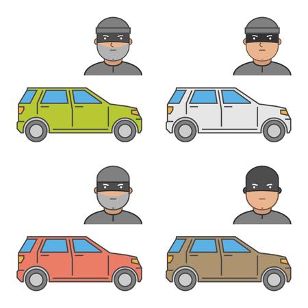 robo de autos: Conjunto de vectores iconos de robo de automóvil. el robo de automóviles aislados símbolo moderno. Vectores
