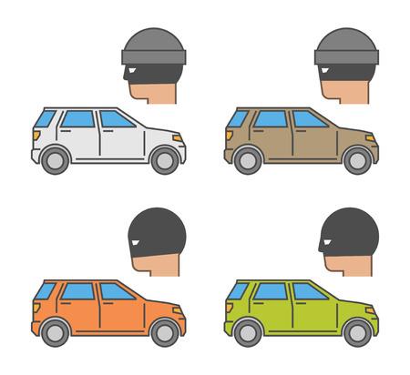 car theft: Conjunto de vectores iconos de robo de autos. robo s�mbolo del coche aislado moderna.
