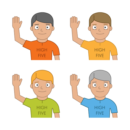 high five: Flat people and friendly high five. Modern line man and high five. Linear friendly high five.
