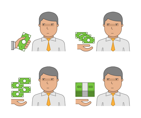 Vector set of icons of corruption. The Corruptor and bribery. The fight against corruption and bribery.