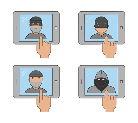 stolen identity: Modern icon set cybercrime. Vector symbol of hacking. Line internet thief on a white background.
