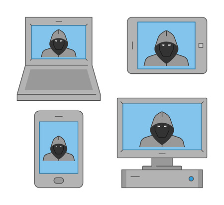 theft: Vector set icons online theft. Modern isolated symbol internet theft. Line design concept online theft and cyber thief.