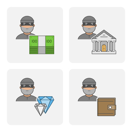 burglar man: Modern icon bank theft. Vector symbol of stealing money. Linear icon stolen purse. Flat character stealing jewelry.