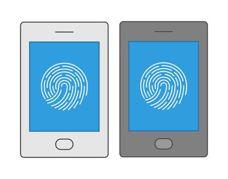 biometrics: Line design symbol fingerprint smartphone. Vector icons biometric smartphone protection. Illustration