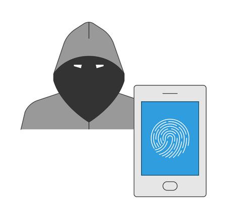 odcisk kciuka: Zabezpieczenie biometryczne smartphone z hakerami. Ochrona przed cyberprzestępczością w dziedzinie komunikacji mobilnej. Ilustracja