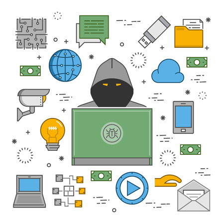 stealing data: Modern concept of crimes in the area online. Hackers and cyber criminals online. Symbol of hackers and Internet crimes. Illustration