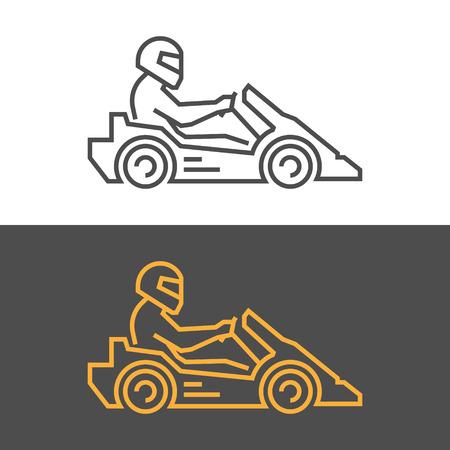 carting: Gold modern icon go kart. Vector symbol of karting. Modern silhouette kart racer.