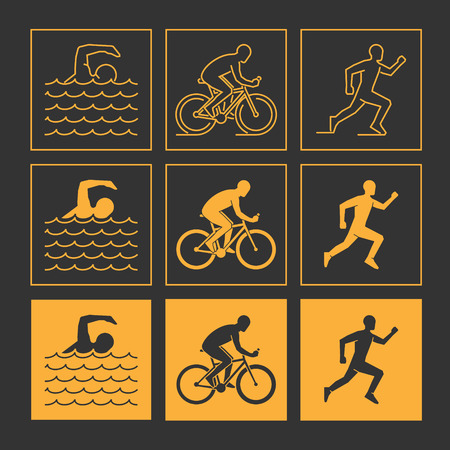 triathlon: Modern line triathlon symbol. Gold vector figures triathletes. Outline triathlon icons. Vector line silhouette triathletes. Swimming, cycling and running icons.