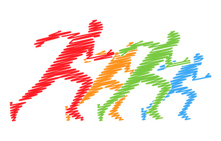 runners: Hatching vector symbol for the marathon. Multicolored set of silhouettes of runners. Vector figure runners. Illustration