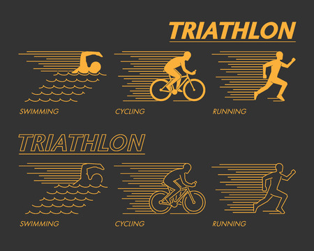 Modern line triathlon symbol. Gold vector figures triathletes. Outline triathlon icons.
