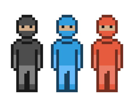 8 bit: Vector pixel art red, blue and black ninja. Pixel units for 8 bit video games.