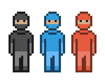 units: Vector pixel art red, blue and black ninja. Pixel units for 8 bit video games.