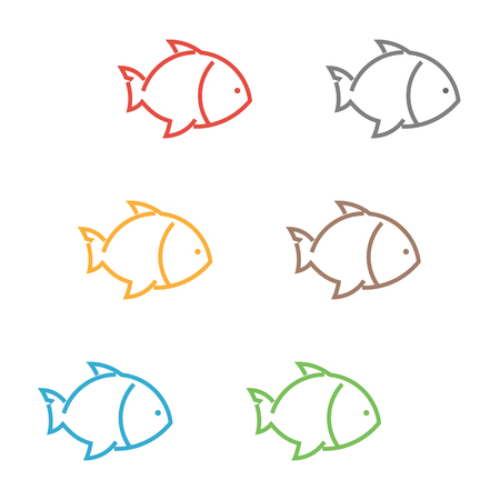 outline fish: Vector set of outline fish. Vector icons of colored fish.