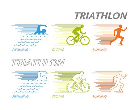 Coloreado conjunto de siluetas de atleta. Figura triatleta lineal.