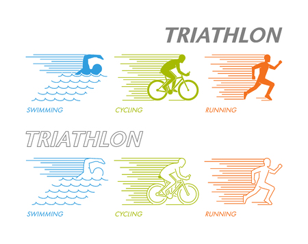 triathlete: Colored set of silhouettes of athlete. Linear figure triathlete.