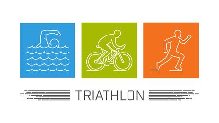 Vector set of silhouettes of athlete. Outline figure triathlete. Illustration