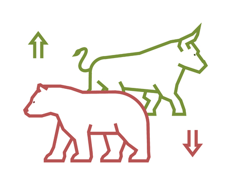 bull market: Linear stock and symbol. Line design concept for stock market. Vector silhouette figures bull and bear.