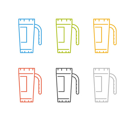 take out: Vector linear coffee set icons. Cool set of linear coffee badges. Illustration