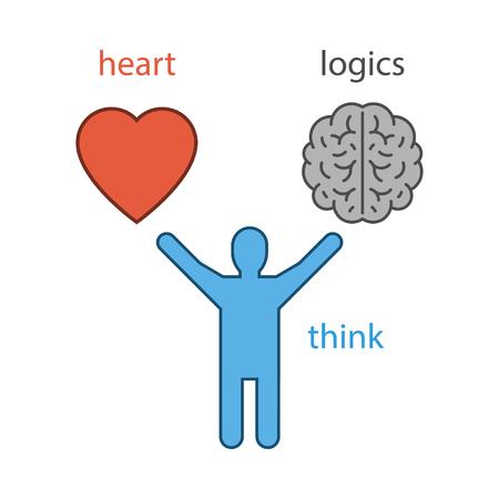 logica: Concepto del vector del corazón o de la lógica de la elección. símbolo aislado. Vectores
