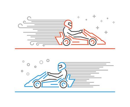 karting: Multicolored line go kart . Modern outline karting symbol. Vector line kart. Cool karting icons.