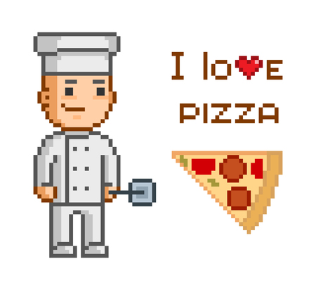pizza maker: Pixel concept for pizzeria. I love pizza. Smiling cook and and slice of pizza. Delicious pizza and pizza maker. Illustration