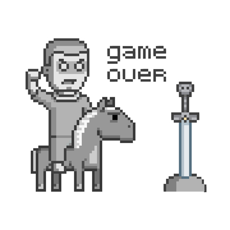 8bit: Pixel art concept game over for web and video game.