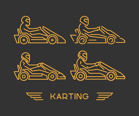 karting: Line karting and go kart symbol. Silhouette figures kart racer. Linear sport symbol, label and badge. Illustration