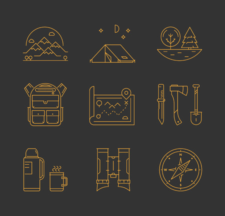 Gold line icons set of hiking, camping and tourism. Line mountain, tent, tree and backpack. Linear map, knife, axe and shovel. Vector thermos, cup, compass and binoculars. Illustration