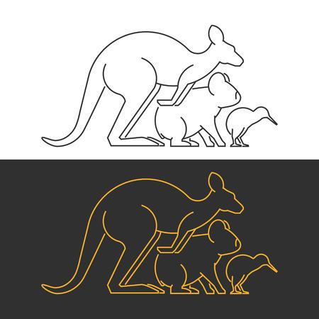 australian animals: Vector line symbol australian and new zealand animals on white and black background.