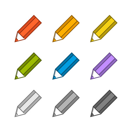 Colored pencils vector icons. Vector pencil on a white background.