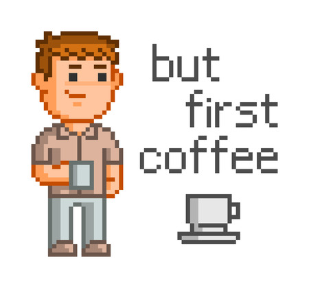 but: Pixel concept for web. But first, coffee. Smiling man with a cup of coffee.
